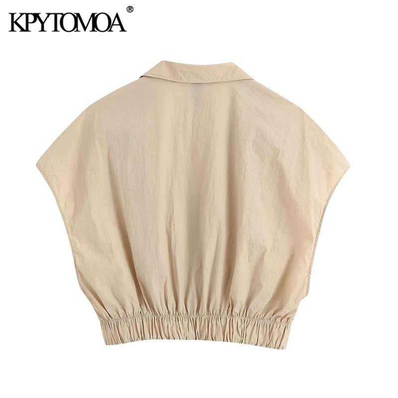 KPYTOMOA femmes 2020 mode bouton-up confortable recadrée Blouses Vintage sans manches élastique ourlet femme chemises Blusas Chic hauts