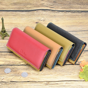 Image 5 - DICIHAYA Contrast Color Genuine Leather Women Wallet Purse Female Luxury Leather Long Womens Handbag Genuine Leather Pouch
