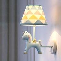 Resin Unicorn Wall Lamps Modern Animal Wall Sconce Led Mirror Lights for Children's Room Kids Bedroom Bedside Lamp Home Decor