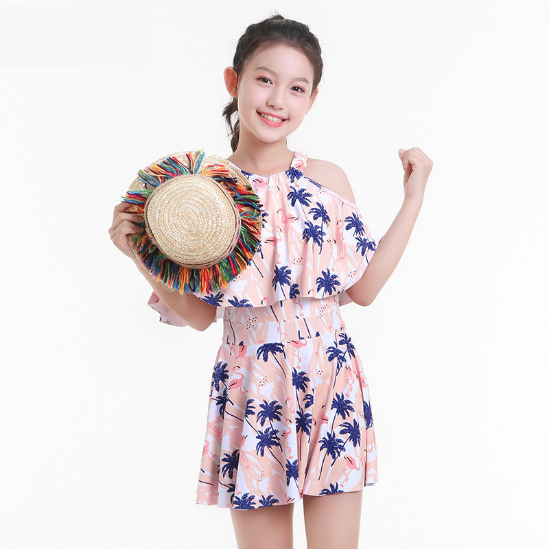 2019 New Style Hot Sales KID'S Swimwear Dress-Flamingo Coconut Tree Hot Springs Boxer Big Kid GIRL'S Swimsuit