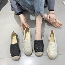 New Women's flat shoes brand leather canvas shoes famous designer decorated with woven signature decorati sheepskin A17