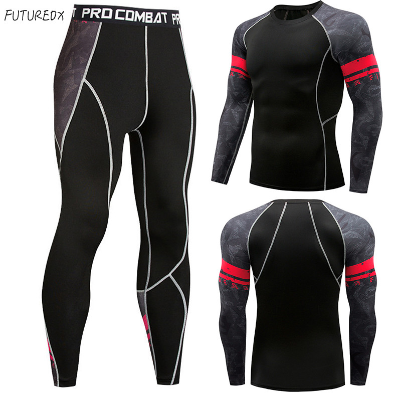 Men's Thermal Underwear Set 3D Printing Compression Shirt Long-sleeved T-shirt Sweat Quick-drying Men MMA Fitness Sportswear Sui