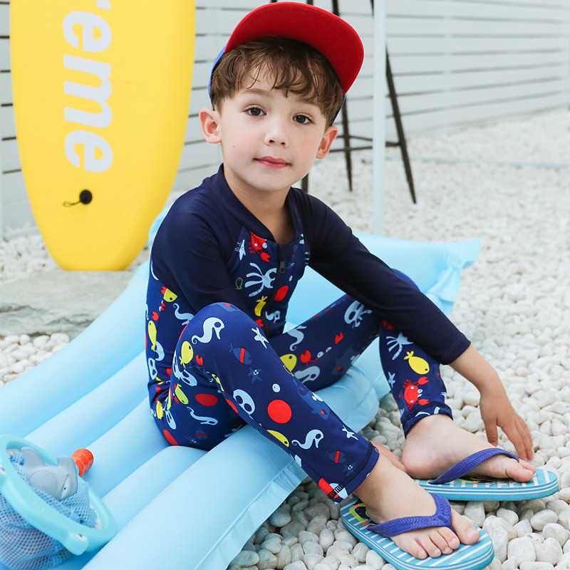 2020 KID'S Swimwear Big Boy Cartoon Dark Blue Octopus Long Sleeve Zipper Cute Boy One-piece Swimwear
