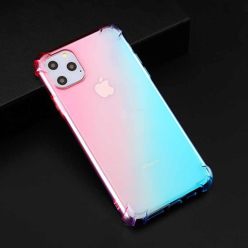 Voor iphone 11 Pro Luxe Gradient Plated Case Voor iphone 11 Pro MAX XR XS Max 7 8 6 6s Plus blue Ray Light Clear Soft Cover Case