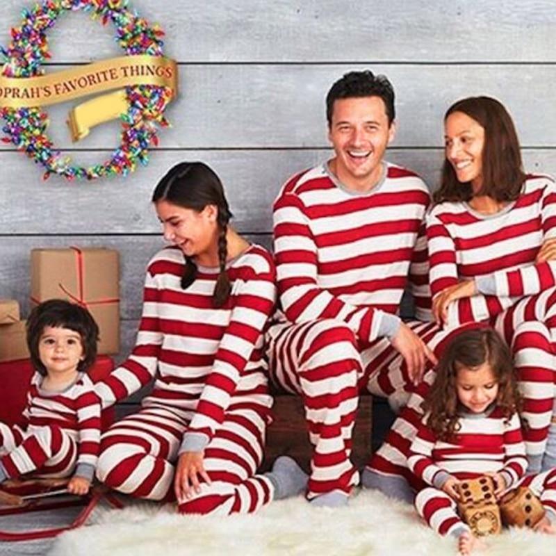 Christmas-Pajamas Father-Clothes Familia Daughter Striped Baby Navidad Cotton -E