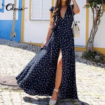 цена на Fashion Split Hem Polka Dot Short Sleeve Maxi Sundress Celmia Bohemian Women Summer Long Dress Belted Sexy Casual V-Neck Vestido