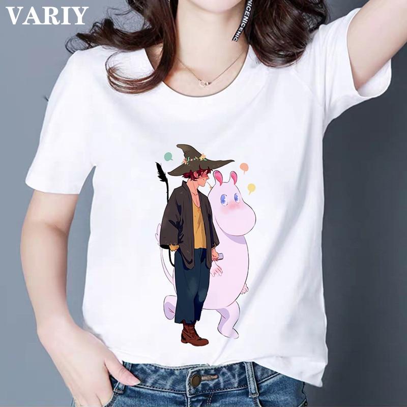 Moomins Day Letter Print T-shirt Graphic Tees Women Funny T shirts Female Harajuku Fashion Shirt Tops Tee shirt Woman Clothing
