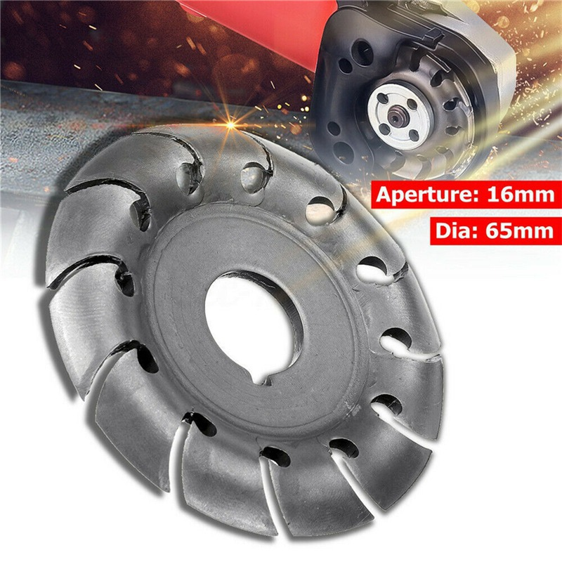 Power Wood Carving Disc 65MM Angle Grinder Tool Milling Cutter Tea Tray Blade 12-Teeth 16MM Hole Woodworking Turbo Disc Grinder