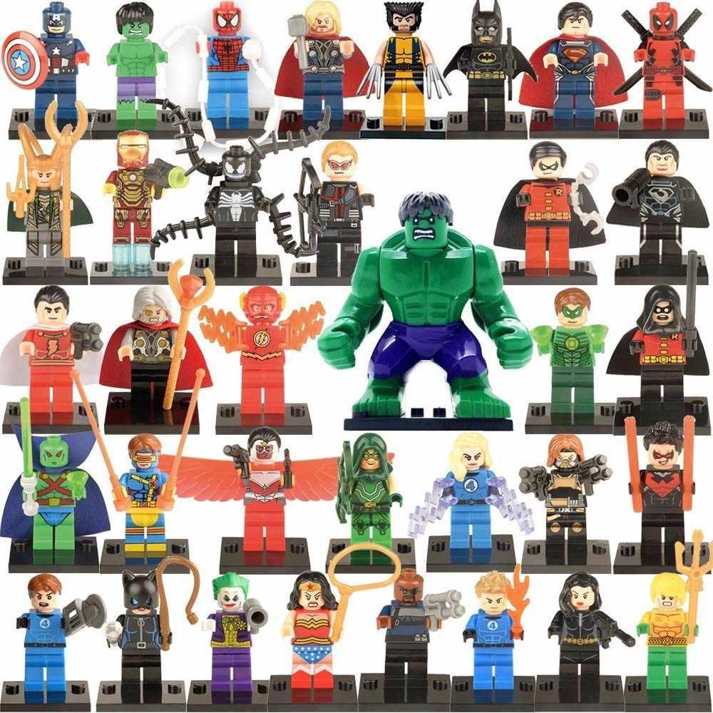 سوبر أبطال LEGOing باتمان فيلم أرقام عمل الرجل الحديدي هالك جوكر كابتن أمريكا نموذج ألعاب مكعبات البناء للأطفال