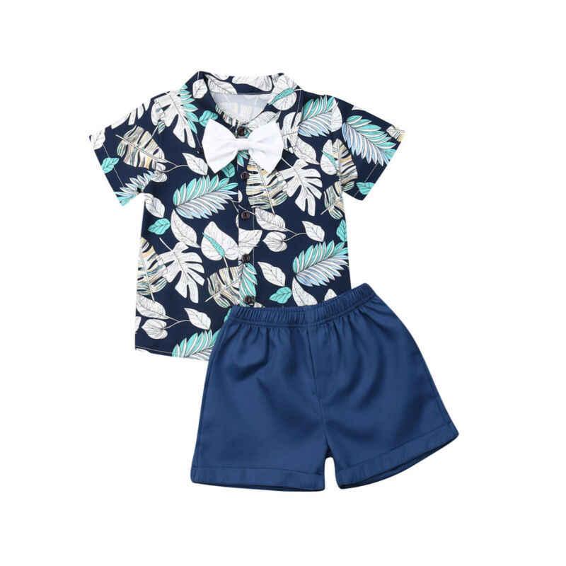 ブランド新ベビーセット幼児ベビーボーイフォーマルなスーツの花半袖ボタンシャツショーツパンツ夏の綿のパッチワークホット 2019