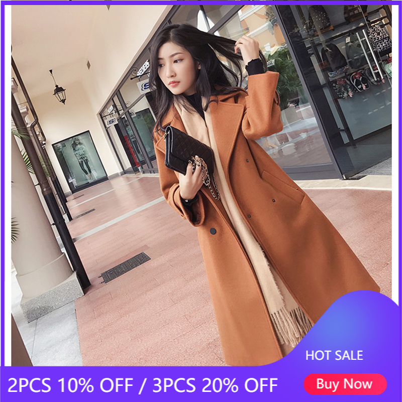 Mishow 2019 autumn and winter woolen coat female Mid Long New Korean temperament women's popular woolen coat MX17D9636 Wool & Blends  - AliExpress