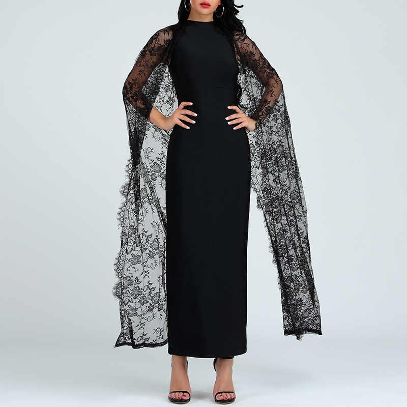 Beateen 2019 Nieuwe Mode Zwarte Kant Mantel Mouwen Bandage Gown Borduren Schede Bodycon Maxi Jurk Elegante Vrouwen Party Vestidos