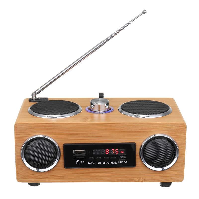 レトロなヴィンテージラジオスーパー低音 FM ラジオ竹マルチメディアスピーカー古典的な受信機 Usb MP3 プレーヤーのリモコン