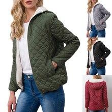 Sfit Женский Повседневный зимний теплый вельветовый джемпер из овечьей шерсти с капюшоном, куртка с капюшоном, верхняя одежда, пальто, хлопковые парки, Базовая куртка, новинка