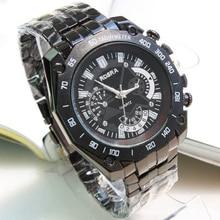 Men Watch Top Luxury Brand ROSRA Black Stainless Steel Watches Quartz Sports relogio masculino