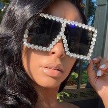 Женские солнцезащитные очки с кристаллами KeiKeSweet, Большие зеркальные солнцезащитные очки со стразами, большие стразы