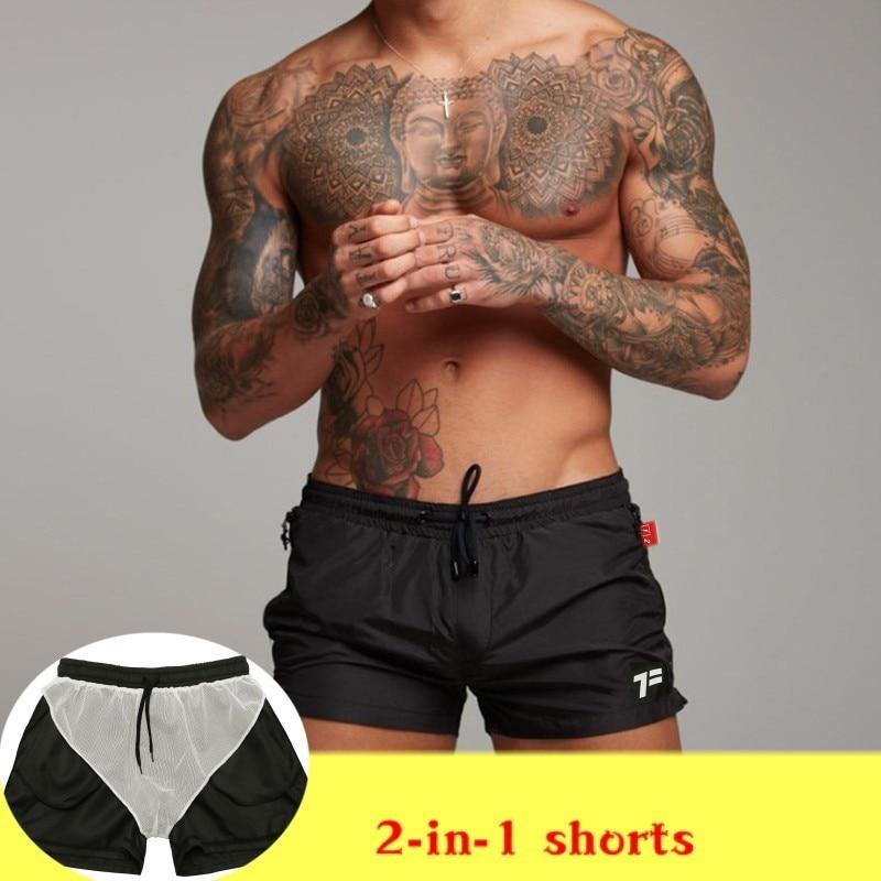 Men's 2 In 1 Shorts  Quick Dry Summer Mens Siwmwear Mens Beach Board Shorts Briefs For Men Swim Trunks Swim Shorts Beach Wear