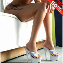 New Style Fashion Big Size Summer Slippers 6 Inch Color Thin Heels Party Shoes Roman Sexy Shoes 15cm  Platform High Heels Style mature temptation mysterious sexy fashion ultra high documentary shoes black roman style hollow out super high heels