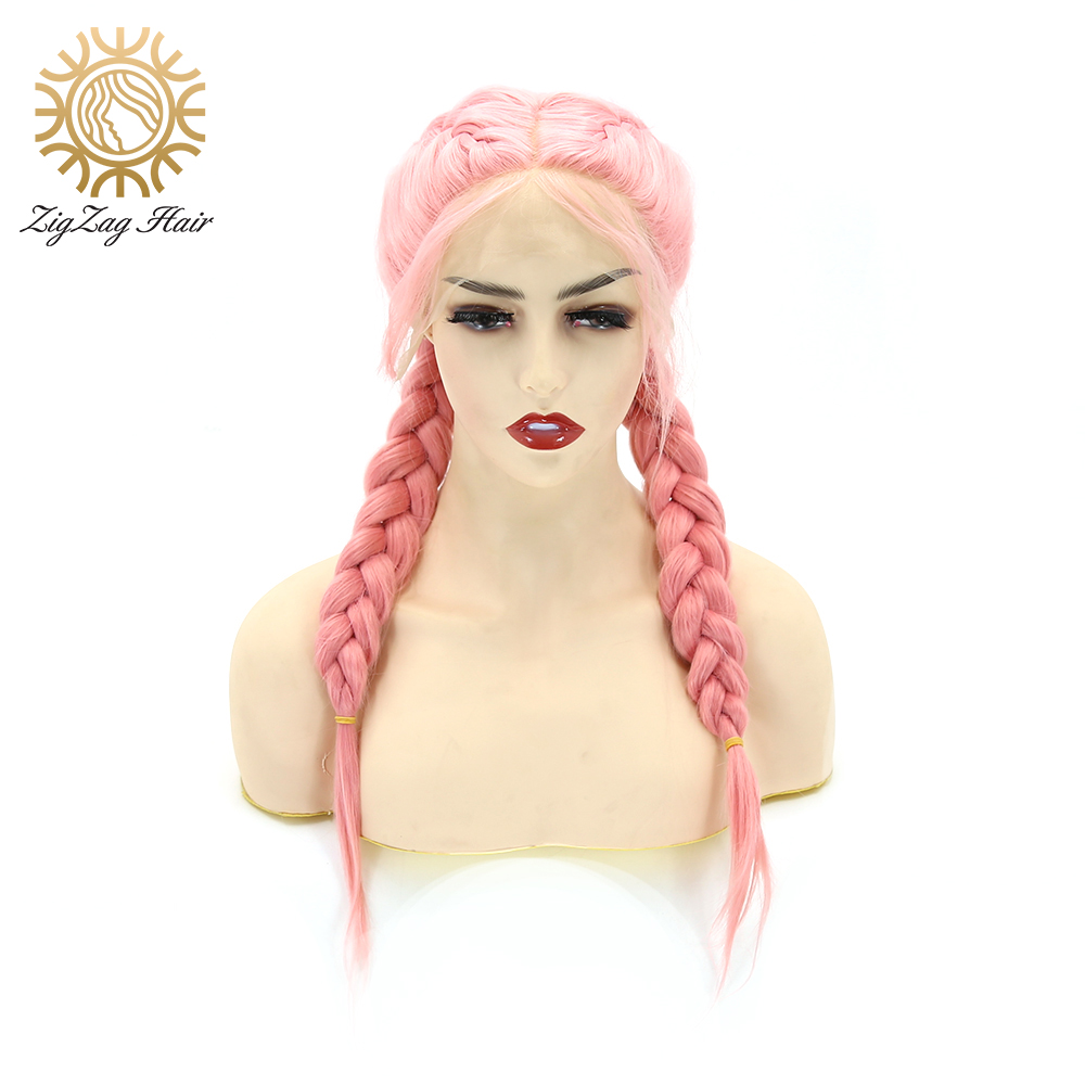 ZigZag Girl Powder Double Braids Wigs For Women Pink Synthetic Lace Front Wigs Braided Heat Resistant Fiber Hair Middle Parting