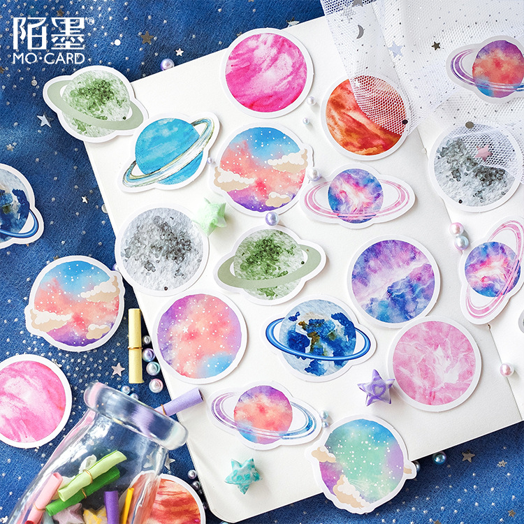 Mohamm Cute Scrapbooking Journal Stationery Diary Japanese Paper Mini Cute Decorative Space Planets Sticker