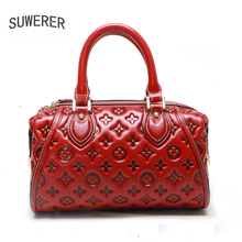 SUWERER Women Genuine Leather bags 2020 New fashion luxury handbags women Emboss