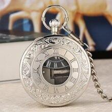 Креативные Серебристые музыкальные кварцевые карманные часы