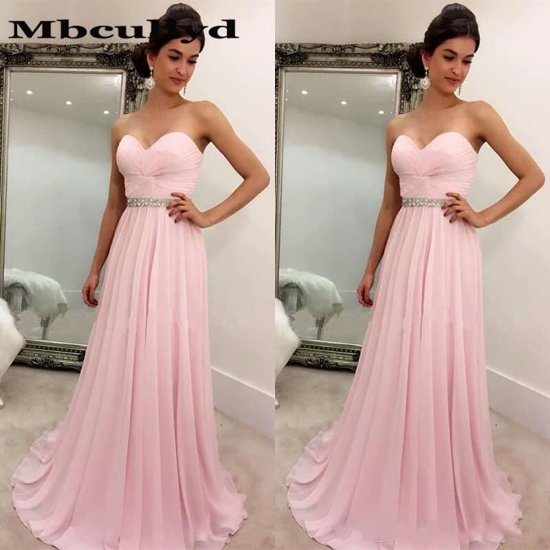 Mbcullyd Sweetheart Pink   Prom     Dresses   For For Women 2019 Flowing Chiffon Long Evening   Dress   Party Vestidos De Gala Custom Made