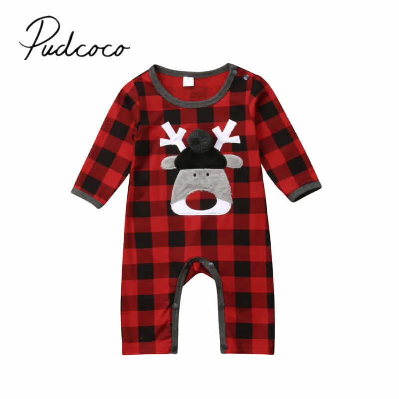 2019 Baby Spring Autumn Clothing Newborn Infant Baby Girls Boys Christmas Romper Plaids Jumpsuit Long Sleeve Playsuit Clothes