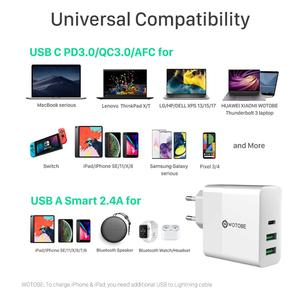 Image 5 - 65W TYPE C USB C Power Adapter,1Port PD60W QC3.0 Charger For USB C Laptops MacBook Pro/Air iPad Pro,2port USB for S8/S10 iPhone