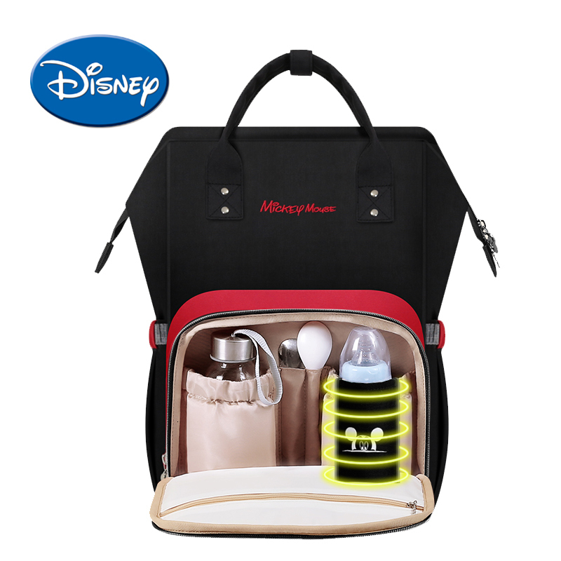 Disney Mummy Diaper Bag USB Heating Cartoon Stroller Bag Maternity Heat Nappy Backpack Large Capacity Nursing Travel Bag