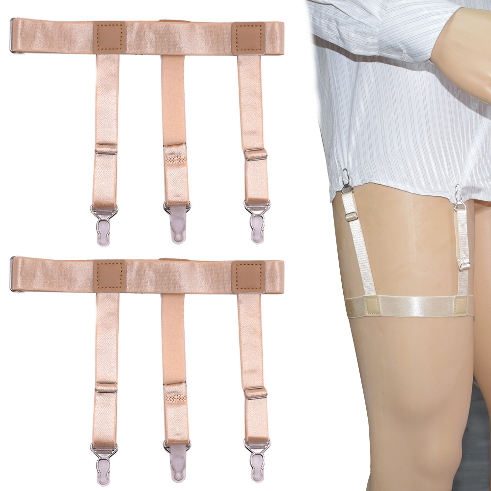Women Mens Shirt Stays Garters Straps For Men Elastic Adjustable Leg Suspenders Belt Wraps Shirt Tuck Holders 3 Clips Skin Color