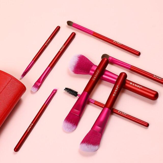Conjunto colorido das escovas da composição de 9 pces com a fibra macia do saco do plutônio blusher do pó da fundação escovas cosméticos ferramenta da beleza
