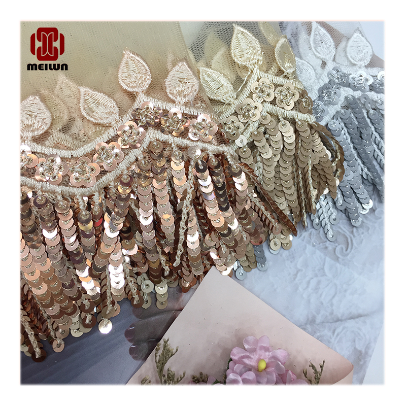 Encajes Y Adornos Para Coser Sequined Ribbon Shiny Trims Fabric Wedding Headdress DIY Accessories Sewing Garment Embellishment