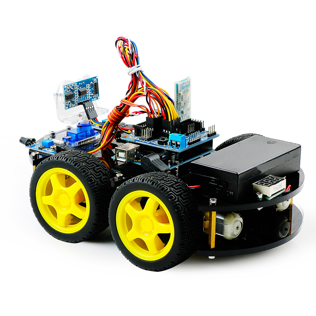 DIY Obstacle Avoidance Smart Programmable Robot Car Educational Learn Kit For BLE UNO /Arduino UNO Christmas Gift High Tech Toy