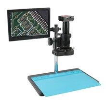 """1080P 21MP HDMI HD numérique industrie TF vidéo Microscope ensemble de caméra + 180X/300X c mount lentille + support de Table + 144 lumière LED + 8 """"LCD"""