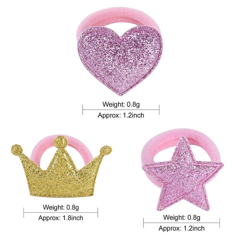 Golden 1 คู่ผมเจ้าหญิง Star ยืดหยุ่นสีชมพูมงกุฎเด็กเชือกผมเด็กปรับ Headdress Heart ผมเชือก