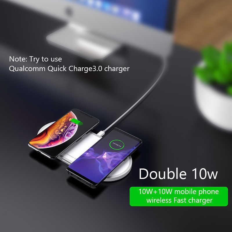 Cargador inalámbrico VVKing QI carga rápida 10W 2 en 1 para iPhone Xs Max X Samsung S10 S9 S8 Xiaomi mi 9 cargador inalámbrico Dual