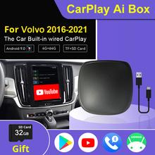 Mini Wireless CarPlay Ai Box 4 + 64G Android 9 0 samochodowe Multimedia Dongle dla Volvo 2016-2021 oryginalny samochód wbudowany przewodowy CarPlay tanie tanio FQWQQV CN (pochodzenie) podwójne złącze DIN 8 8 cala 10 25 6 5 128G DVD-RAM JPEG Carplay Dongle Volvo Carplay CarPlay Android Box