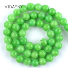 цены Natural Gem Stone Green Jades Beads For Jewelry Making 4 6 8 10 12mm Round Spacer Beads Diy Handwork Bracelet Necklace 15''