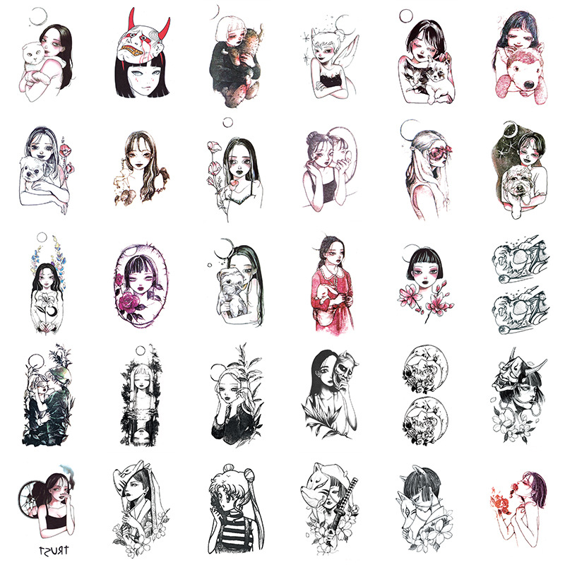 30Sheets/set  Fake Tattoo Little Vintage Old School Style Girls Women Temporary Tattoo Sticker Body Hands Wrist Tatoo Waterproof