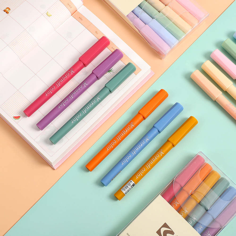 JIANWU 6pcs/set Creative Fresh Valve Style Morandi Fluorescent Pen Kawaii Highlighter Color Marker Pen School Supplies