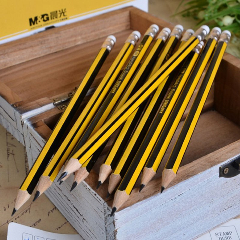 12Pcs/Pack Yellow Wooden Handle <font><b>HB</b></font> <font><b>Pencil</b></font> Ordinary <font><b>Pencil</b></font> Student Writing Drawing Sketch <font><b>Pencil</b></font> With Eraser School Office Supply image