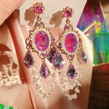 MENGJIQIAO koreański Vintage luksusowe kolorowe Cystal spadek kolczyki dla kobiet dziewczyn elegancka perła koraliki Tassel Pendientes biżuteria tanie tanio Ze stopu cynku CN (pochodzenie) TRENDY Moda GEOMETRIC Kryształ Kobiety