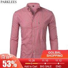 Camisa de algodón a cuadros para hombre, informal, entallada, manga larga, vestido con botones, a la moda, para negocios marca, 2018