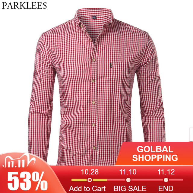 Mens Plaid Cotton Casual Slim Fit Long Sleeve Button Down Dress Shirts 2018 Fashion Men Work Business Brand Shirt Chemise Homme