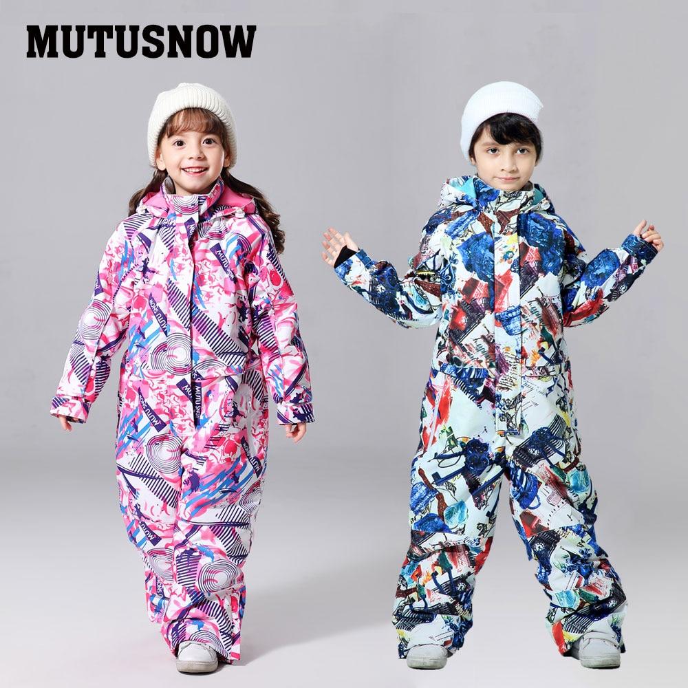 Лыжный костюм для мальчиков и девочек; сезон зима-30; теплая водонепроницаемая зимняя куртка и штаны; одежда для сноуборда