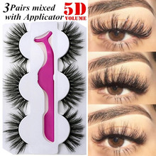 Get more info on the 3 Pairs False Eyelashes with Tweezer Set Makeup 5D Long Fake Eye Lashes Handmade Natural Lash Extension Supplies Beauty Tools