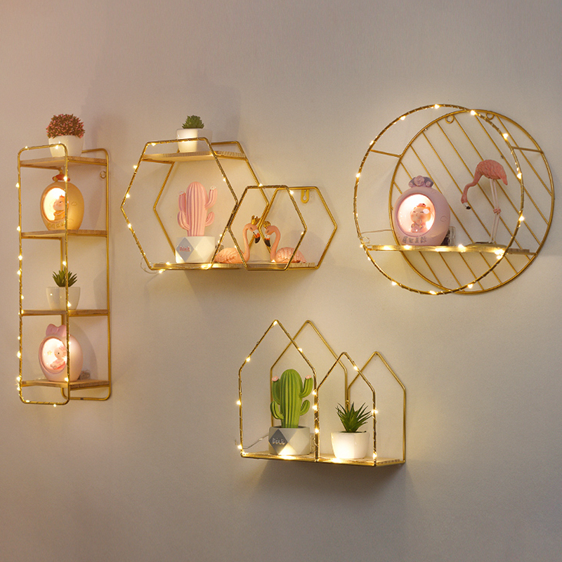 Creative Wall Shelf Wall-Mounted Decoration Pendant Storage Rack Restaurant Porch Room Small Ornaments Bedroom Living Room Stand