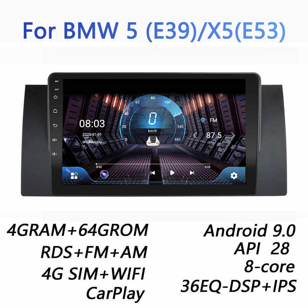 4GRAM + 64GROM untuk BMW E39 E53 X5 M5 DSP 2 Din Android 9.0 4G NET Mobil radio Multimedia Video Player BT FM Canbus Carplay