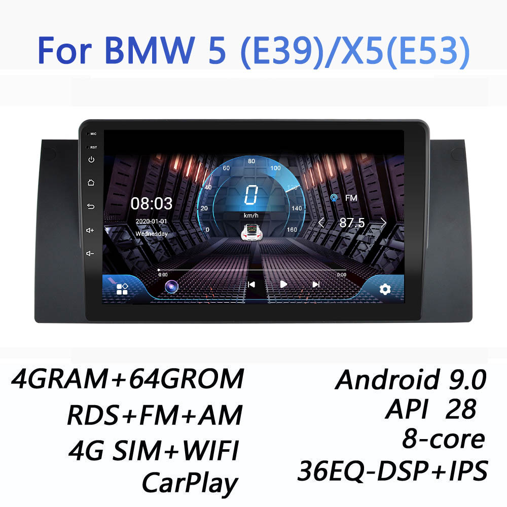 4GRAM+64GROM For BMW E39 E53 X5 M5 DSP 2 din Android 9.0 4G NET Car Radio Multimedia Video Player BT FM AM canbus carplay|Car Multimedia Player|   - AliExpress